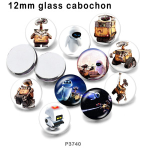 10 pcs/lot dessin animé robot verre image produits d'impression de différentes tailles réfrigérateur aimant cabochon
