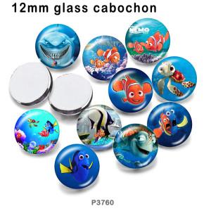 10 pcs/lot dessin animé tortue poisson verre image produits d'impression de différentes tailles réfrigérateur aimant cabochon