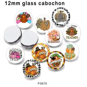10pcs / lot Thanksgiving-Glasbilddruckprodukte in verschiedenen Größen Kühlschrankmagnet Cabochon