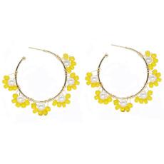 Boucles d'oreilles en forme de C boucles d'oreilles tressées en perles faites à la main boucles d'oreilles tendance perles de riz colorées femmes