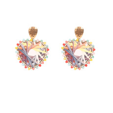 Tempérament personnalité géométrique incrusté de perles de riz rose boucles d'oreilles pour femmes