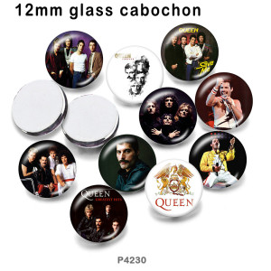 10pcs / lot Berühmte Musikglasbilddruckprodukte in verschiedenen Größen Kühlschrankmagnet Cabochon