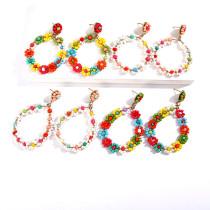 Boucles d'oreilles en perles de riz baroques dorées géométriques plaquées or tempérament rétro