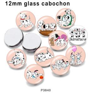 さまざまなサイズの10個/ロットの漫画の犬のガラスの絵の印刷製品冷蔵庫の磁石のカボション