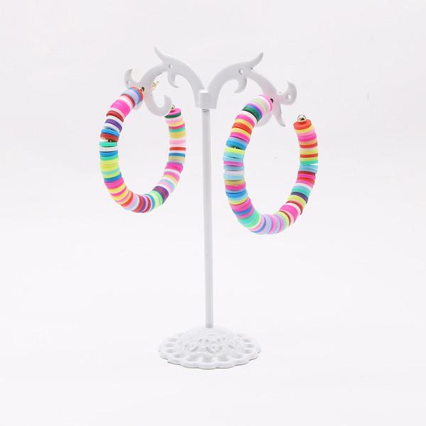 C-förmige trendige Damenohrringe gemischte Farbe weiche Keramik einfache und elegante Mode weibliche Ohrringe