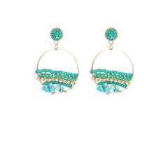 Boucles d'oreilles femmes perles de riz cristal pierre naturelle boucles d'oreilles tissées à la main