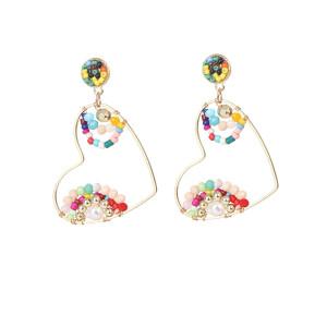 Mode Ohrringe Damen reine handgewebte Reisperlen Perlen Liebe Ohrringe
