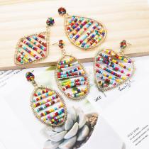 Boucles d'oreilles de couleur de perles de riz à la mode de la série de style bohème Boucles d'oreilles multi-géométriques enroulées à la main