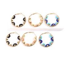 Boucles d'oreilles de personnalité rondes en perles de riz de Bohème
