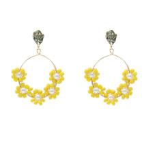 Boucles d'oreilles colorées à la mode pour femmes, perles de riz de style Bohême, boucles d'oreilles faites à la main, boucles d'oreilles en alliage plaqué or