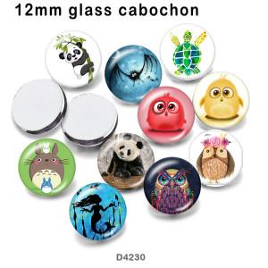 10 pcs/lot tortue de mer hibou verre image produits d'impression de différentes tailles réfrigérateur aimant cabochon