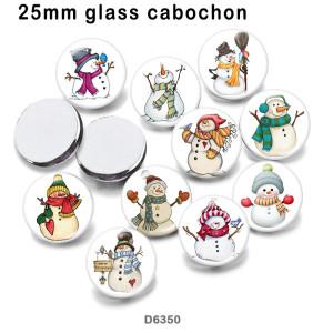 10 pcs/lot produits d'impression d'image en verre de bonhomme de neige de noël de différentes tailles cabochon d'aimant de réfrigérateur