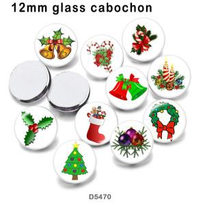 10 pcs/lot produits d'impression d'image en verre de noël de différentes tailles cabochon d'aimant de réfrigérateur