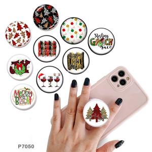 Noël Le support de téléphone portable Prises de téléphone peintes avec une base à motif imprimé noir ou blanc