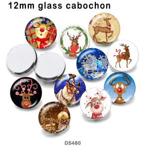 10 pcs/lot produits d'impression d'image en verre de cerf de noël de différentes tailles cabochon d'aimant de réfrigérateur