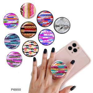Rayures de couleur Le support de téléphone portable Prises de téléphone peintes avec une base à motif imprimé noir ou blanc