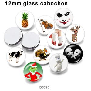 10 pcs / lot produits d'impression d'image de verre de Noël de différentes tailles cabochon aimant de réfrigérateur
