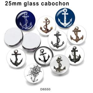 10 pcs/lot produits d'impression d'image en verre d'ancre de navire de différentes tailles cabochon d'aimant de réfrigérateur