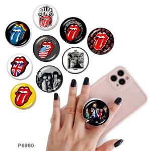 Les Rolling Stones Le support de téléphone portable Prises de téléphone peintes avec une base à motif imprimé noir ou blanc