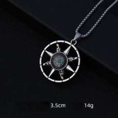 Pendentif Vintage Punk Roman Rune Slave Boussole Ancre Acier Inoxydable 2.5mmx70cm Collier