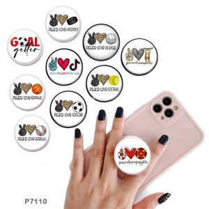 Love sports Le support de téléphone portable Prises de téléphone peintes avec une base à motif imprimé noir ou blanc