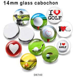 10pcs / lot Ich liebe Golfglasbilddruckprodukte in verschiedenen Größen Kühlschrankmagnet Cabochon