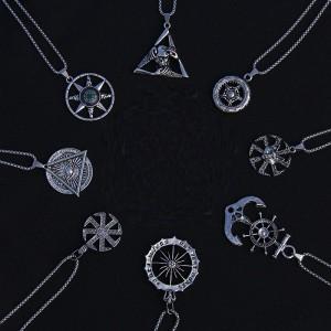 Vintage Anhänger Punk römische Rune slawischer Kompass Anker Edelstahl 2.5 mm x 70 cm Halskette