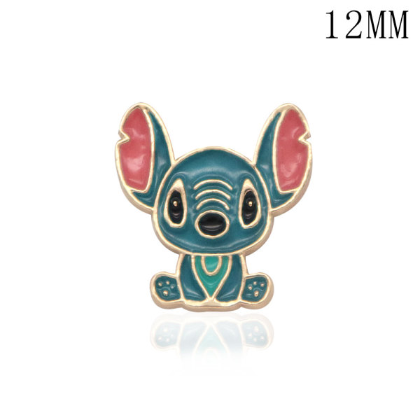 12MM Cartoon design metal silver plated snap charms Multicolor