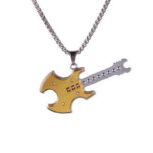 Neue europäische und amerikanische Punk Hip Hop Persönlichkeit Rock Team Gitarre Anhänger Trend Fashion Paar Gold 2.5mmx70cm Halskette