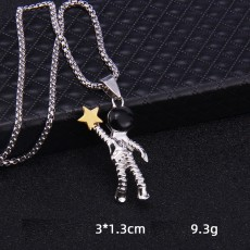 Spaceman astronaute cueillette collier étoile Hip Hop personnalité Robot Couple alliage pendentif 2.5mmx70cm collier