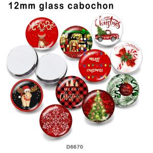 10pcs / lot Weihnachten Schneemann Glasbilddruckprodukte in verschiedenen Größen Kühlschrankmagnet Cabochon