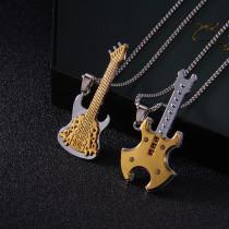 Nouvelle personnalité européenne et américaine Punk Hip Hop Rock Team Guitare Pendentif Tendance Mode Couple Or 2.5mmx70cm Collier