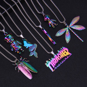 Hip Hop Brief 2.5mmx70cm Halskette Farbe Meerjungfrau Spirale Spaceman Libelle Mode Metall Paar Anhänger