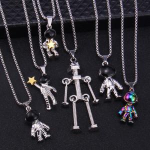 Spaceman Astronaut Picking Star Halskette Hip Hop Persönlichkeit Roboter Paar Legierung Anhänger 2.5 mm x 70 cm Halskette