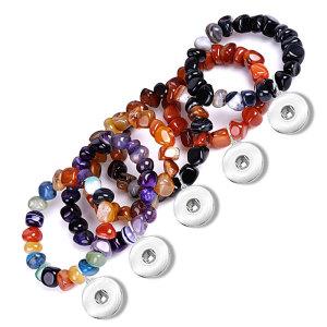 Bracelet en agate non façonné aléatoire de couleur mélangée rouge et noir Bracelet élastique en agate de rêve pour des morceaux de 20 mm