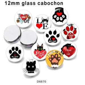 10pcs / lot lieben Katzenglasbilddruckprodukte in verschiedenen Größen Kühlschrankmagnet Cabochon