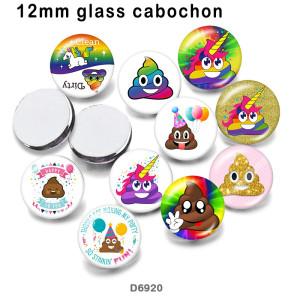 10pcs / lot Einhorn-Glasbilddruckprodukte in verschiedenen Größen Kühlschrankmagnet Cabochon