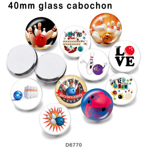 10pcs / lot Ich liebe Bowling-Glasbilddruckprodukte in verschiedenen Größen Kühlschrankmagnet Cabochon