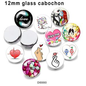 10pcs / lot Liebe Küss mich Glasbilddruckprodukte in verschiedenen Größen Kühlschrankmagnet Cabochon