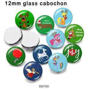 10pcs / lot Christmas Deer Glasbilddruckprodukte in verschiedenen Größen Kühlschrankmagnet Cabochon