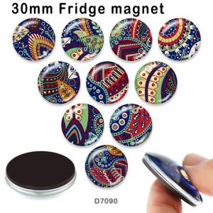 10pcs / lot Musterfarbglasbilddruckprodukte in verschiedenen Größen Kühlschrankmagnet Cabochon