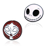 20MM Halloween Cartoon girls design metal silver plated snap charms Multicolor