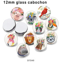 10pcs/lot  lion Cat  bird  Flower  glass picture printing products of various sizes  Fridge magnet cabochon