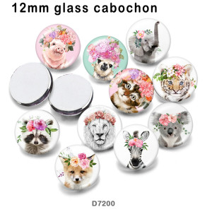 10 pcs/lot chat éléphant fleur verre image produits d'impression de différentes tailles réfrigérateur aimant cabochon