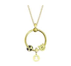 Nuevo conjunto de collar circular de acero inoxidable cadena 45CM chapado en oro
