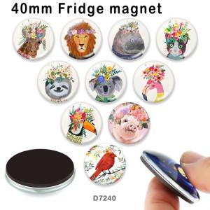 10 pcs/lot lion Chat oiseau Fleur verre image produits d'impression de différentes tailles Réfrigérateur aimant cabochon
