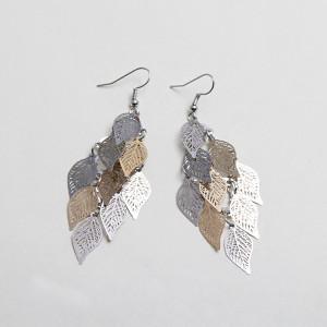 Boucles d'oreilles feuille, boucles d'oreilles colorées en neuf pièces, accessoires en cuivre, bijoux