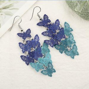 Boucles d'oreilles papillon tempérament Boucles d'oreilles en neuf pièces colorées Accessoires en cuivre Bijoux