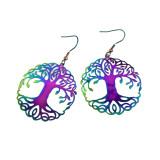 Colorful Peacock Earrings Symphony of Life Tree Cross Cat