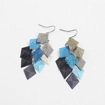 Boucles d'oreilles en cuivre à neuf pièces en forme de losange coloré